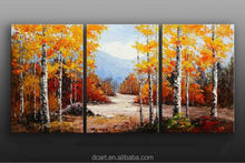 Palette knife oil painting, high quality home decor autumn tree scenery 3 panel oil painting