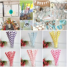 25pcs/Pack Colorful Biodegradable Paper Drinking Straws Striped Wedding Casamento Birthday Party Decoration