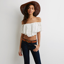 Lady Women's Sexy Slash Neck Lace Off Shoulder Casual lady blouse tops SV018865