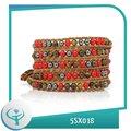 [TTT Jóias] 2014 moda de alta qualidade 5 camada pulseira de fio ajustável atacado multi colorido pulseira pedra