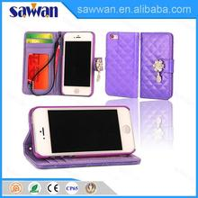 diamond shining style stand pu leather case with card slot for iphone 4 4S