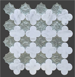 new silver glass and white marble flower waterjet pattern mosaic tile for wall decoration