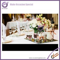 k5922 Mirror Glass Charger With Decorated rectangular Best seller Wedding Mirror Glass Charger Plates