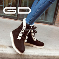 Soft Leather Fur linined women winter snow boots lace up warm ankle boots for girl
