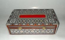 De madera caja de pañuelos, incrustaciones de madre perla caja de pañuelos