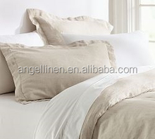 Hot sell pure linen bedding sheet set/duvet cover set with stone washing/dot hemstitch oxford style
