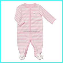 One piece Baby Romper, Toddler jumpsuit, stripe pink with embroidery