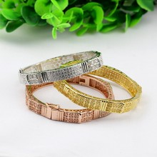 Latest Women Designs Eco-friendly Copper Zirconia Paved Bracelets over True Gold Plating for 2015