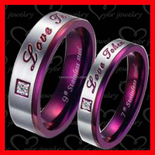 Unique design titanium ring stainless steel ring with customized letter for couples