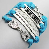 Retro Style Fashion Vintage hand knitting supplies silver tone owl Best Friend infinite multilayer braid bracelet