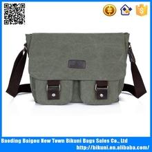 Outdoor sports fashion khaki color cheap canvas school messenger bag boys' satchel canvas bag China online shopping