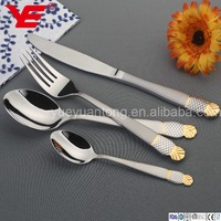 24pcs / 30pcs stainless steel disposable gold cutlery with spoon and fork stand