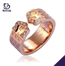 Diamon zircon studded rose gold plating silver engraved rings