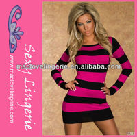 ML17900 lLadies One Piece Long Sleeve Stripped Mini Dress Form