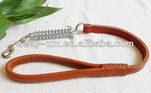 Fashion design braided leather pet leash with metal spring