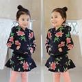 tz1913 atacado moda inverno crianças roupa infantil meninas coreano novos modelos de flores vestido de terno
