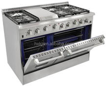 48 Inch freestanding double Ovens burner gas stove italian kitchen equipment