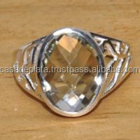 Green Amethyst Wholesale Sterling silver 925 rings gemstones,designer big rings