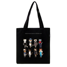Black cat cotton canvas bag/pretty cotton shopping bags