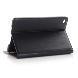 OEM Logo Branding Crazy Horse Texture Leather Tablet Case for iPad mini 4 Cover with Sleep / Wake-up Function