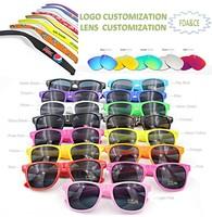 wholesale custom logo printed promotional mirror lens wayfarer sunglasses