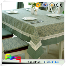 New designed Christmas style linen cotton material jacquard tablecloth fabric light green
