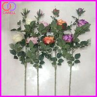 3 heads long stem plastic artificial silk flower rose bush