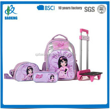 New active pink color student detachable school trolley bag set for girl