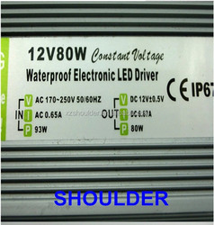 China supplier waterproof led power supply 80w, led driver transformer 12v 80w
