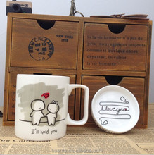 Wholesale high quality couple simple life creative clock breakfast cup with lids
