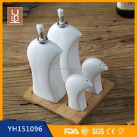 ceramic salt and pepper,oil and vinegar cruet dispenser set with bamboo stand