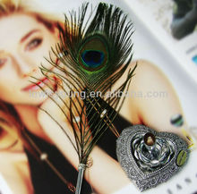 Peacock feather material ball pen, gift pen , quill pen with cap