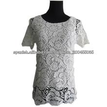 Venta caliente 100% algodón Crochet blusa Elegante blusa 2013 blusas para uniformes de oficina