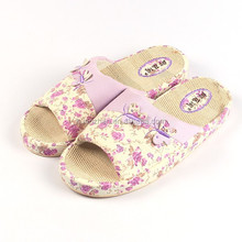high quality women linen slipper in bedroom