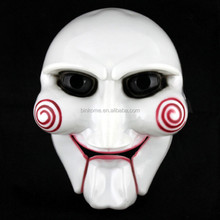 New White Fully Face Cosplay Movie Saw Puppet Masquerade Horroy Scary Mask wholesale