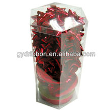 PVC Box packing Creative Ribbon Eggs and Star Bows for Decoration/Iridescent Plastic star Bow and Ribbon eggs sets With PVC box