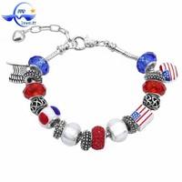 Alibaba china supplier European style imitation jewelry America flag charms handmade bracelet jewelry MP068