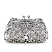 Hotsale diamond handbag style ladies Chinese rhinestone Crystal clutch bag in stock