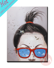 New design art supplies handmade beautiful lady wear glasses paintings on canvas