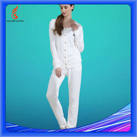 Europe Style Unique 100% Cotton Plain White Blank Pajamas Model For Women