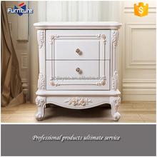 white aesthetic design wood mirrored nightstand
