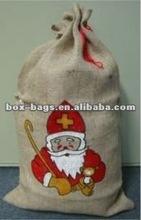 Regalo de navidad de yute con cordón/arpillera/bolsa de yute