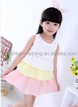 2015 children's latest design beautiful contract color splicing girl's summer dress