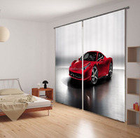 Hottest new arrival fashion curtain design 100% polyester sexy red car printed curtains for living room