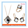 Wholesale african costume jewelry set 18k rose gold square crystal accessories for women