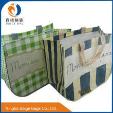 fodlable laminated pp woven custom reusable grocery shopping tote bags