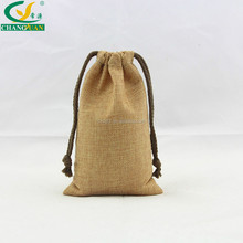 Custom printing Eco-Friendly Laminated jute drawstring pouch