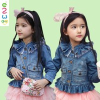 Hot Stock Elastic Quality Spring Children's Girls Jeans With Lace Jackets For Kids Coats