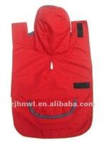red patch pocket dog raincoat