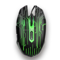 Promotional Wired 6D Optical Gaming mouse with multiple LED colors
